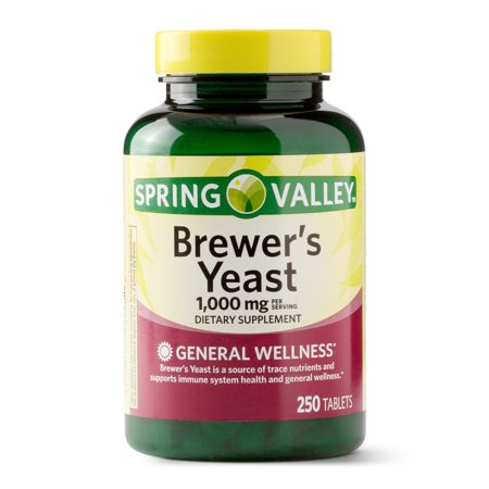 (2 Pack) Spring Valley Natural Brewers Yeast Tablets, 1000 mg, 250