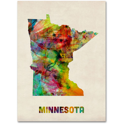 "Trademark Fine Art ""Minnesota Map"" Canvas Wall Art by Michael Tompsett"