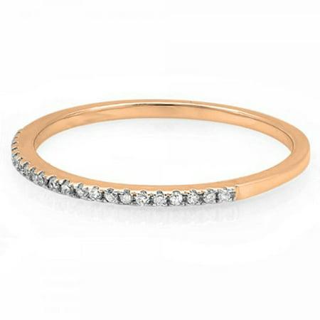 Dazzlingrock Collection 0.08 Carat (ctw) 10K Round White Diamond Ladies Anniversary Wedding Band, Rose Gold, Size 4