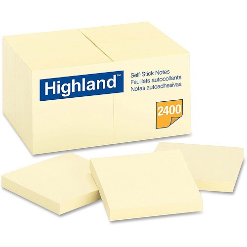 Highland Notes, 3 in x 3 in, Yellow, 24 Pads/Pack