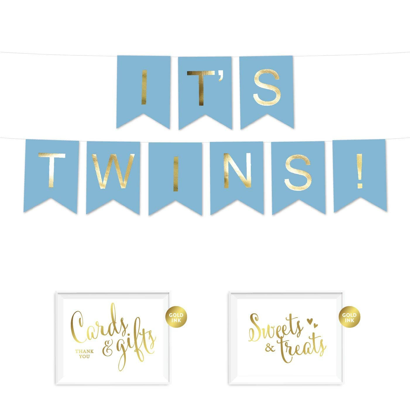 Andaz Press Shiny Gold Foil Paper Pennant Hanging Banner with Gold Party Signs, It's Twins! Baby Blue, 1-Set