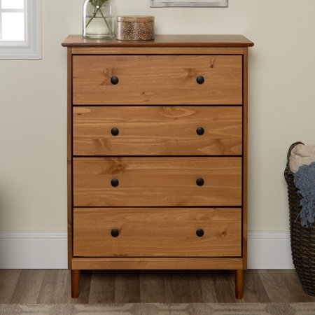 40s Solid Wood (Manor Park Mid-Century Modern 4-Drawer Solid Wood Dresser - Caramel )