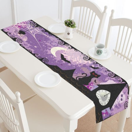 MYPOP Halloween Cat Night Table Runner Placemat 16x72 inches, Purple Tablecloth for Office Kitchen Dining Wedding Party HomeDecor (Night Table Runner)
