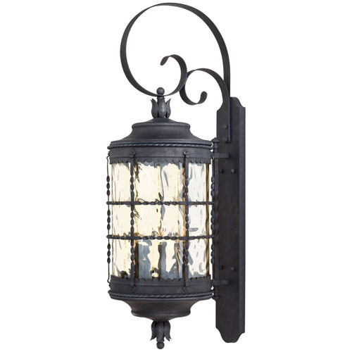 Kingswood Iron and Textured Black Five-Light Outdoor Wall Sconce by