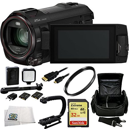 (Panasonic HC-WX970 4K Ultra HD Camcorder with Built-in Twin Video Camera + 32GB Bundle 7PC Accessory Kit. Includes SanDisk Extreme 32GB UHS-I/U3 SDHC Memory Card (SDSDXN-032G-G46) + UV Filter + Scorpi)