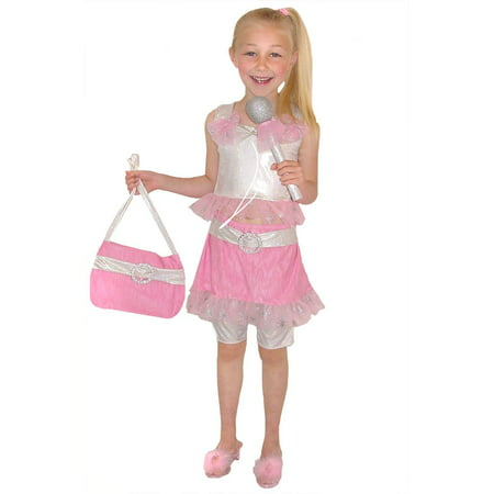 POP DIVA dancer pink top skirt girls kids 80s dress up halloween costume  - Xs Halloween Costume