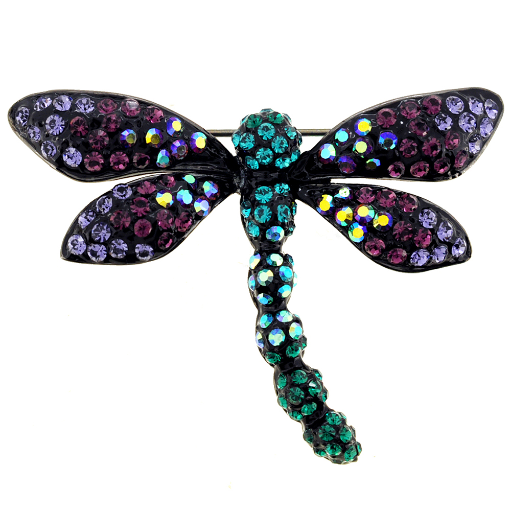 Multicolor Dragonfly Crystal Pin Brooch by