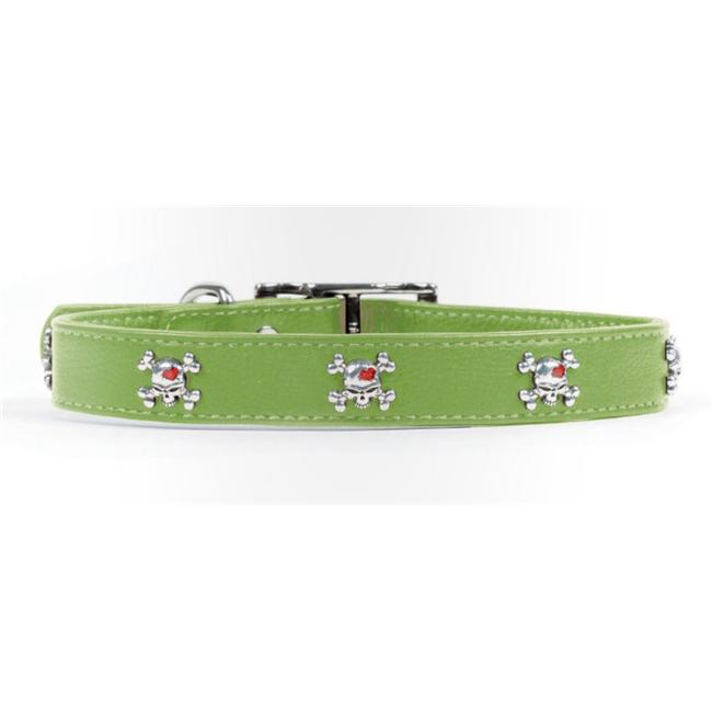 Rockinft Doggie 844587016302 . 5 inch x 12 inch Leather Collar Skull Rivets - Green