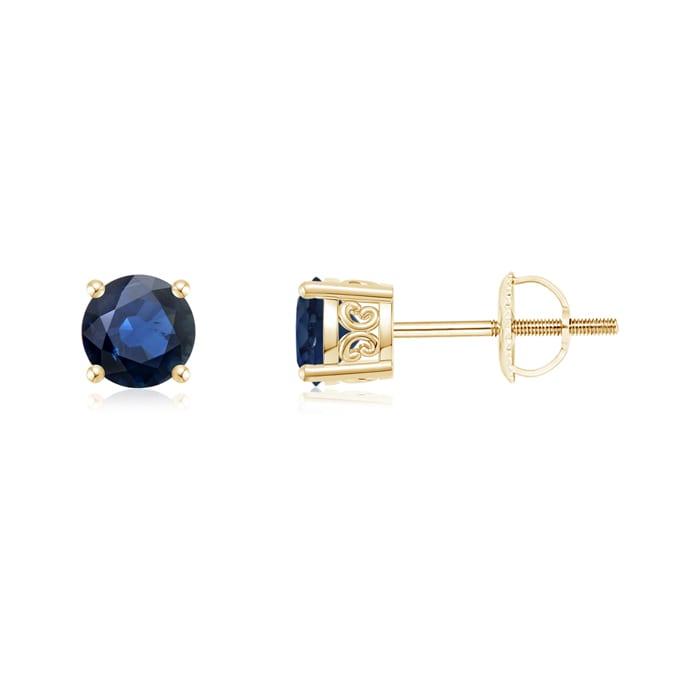 Angara 4.5mm Blue Sapphire Stud Earrings in 14k Rose Gold sHcJcCD