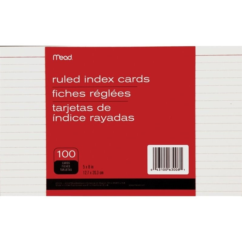 Mead Index Cards, Ruled, 100 per Pack, White (Set of 3)