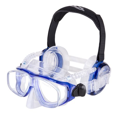 IST ProEar Dive Mask with Ear Covers, Scuba Diving Pressure Equalization Gear, Tempered Glass Twin Lens (Ist Scuba)