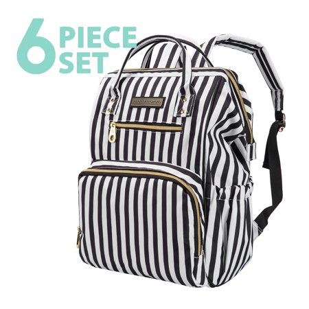 85f91354531 SoHo Diaper Bag Backpack Wide Opening 6 Pieces Nappy Tote Bag for Baby mom  dad Stylish