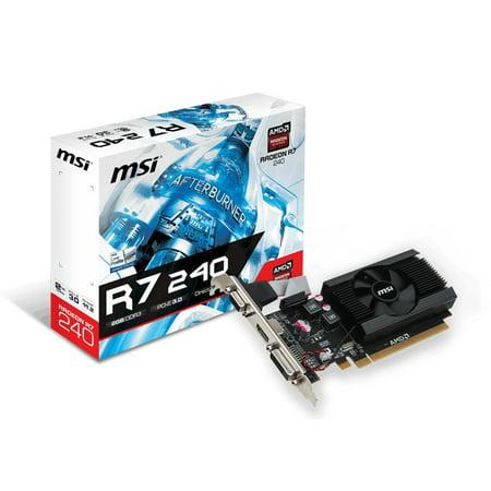 MSI R7 240 2GD3 LP Radeon R7 240 2GB DDR3 PCIe Graphics Card - Ddr3 Pcie Vga Card
