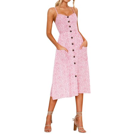 Nlife Women Bohemian Button Design Spaghetti Strap Midi Dress
