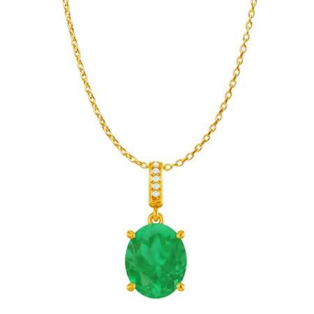 Oval Emerald CZ Accented Pendant Yellow Gold Vermeil - image 2 de 2