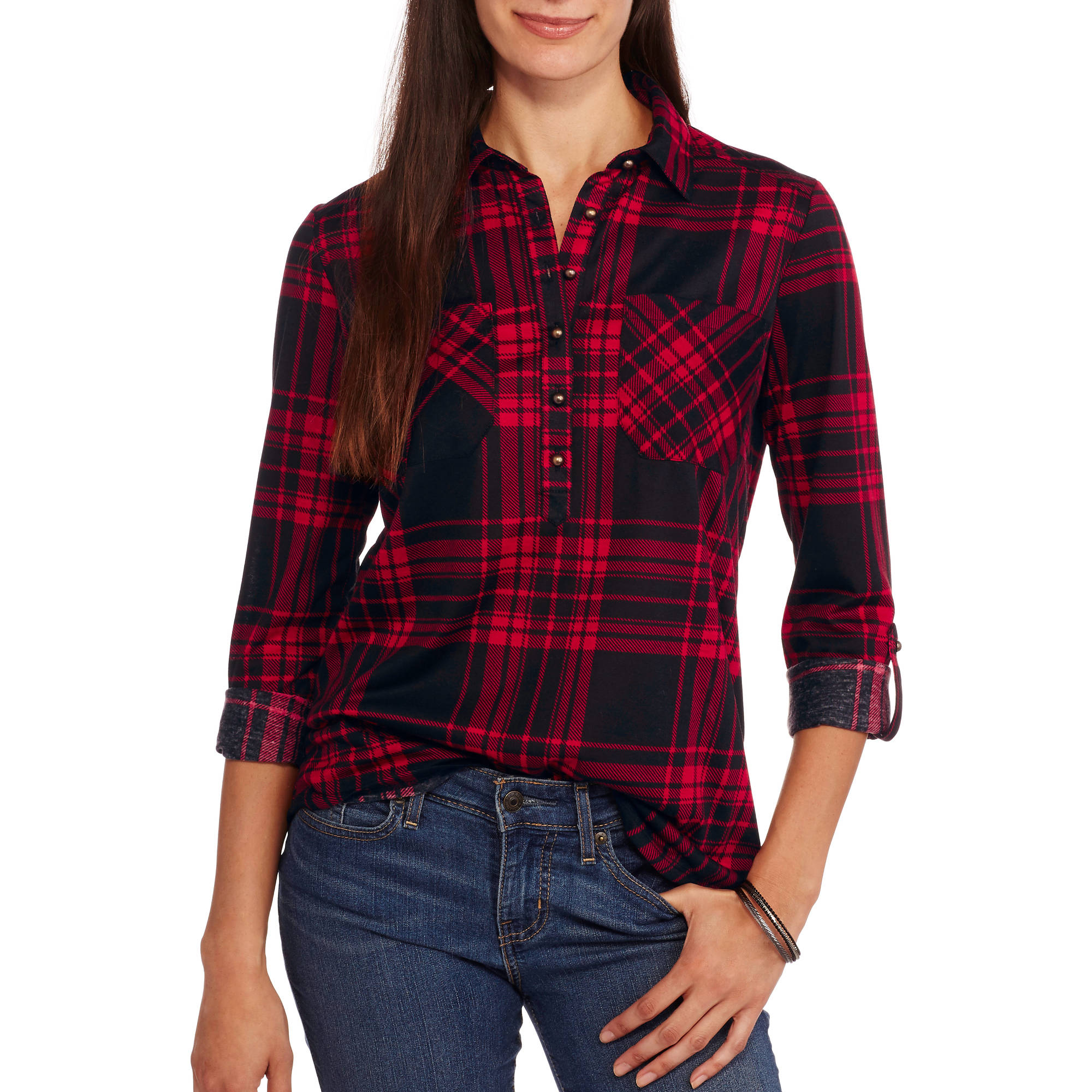 Women's Super Soft Knit Popover Plaid Tunic