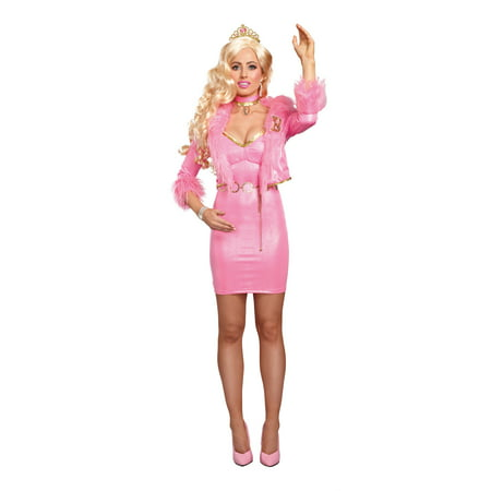 Pink Dress Costumes (Dreamgirl Women's Sparkly Pink Beauty-Licious Blonde Doll Costume)