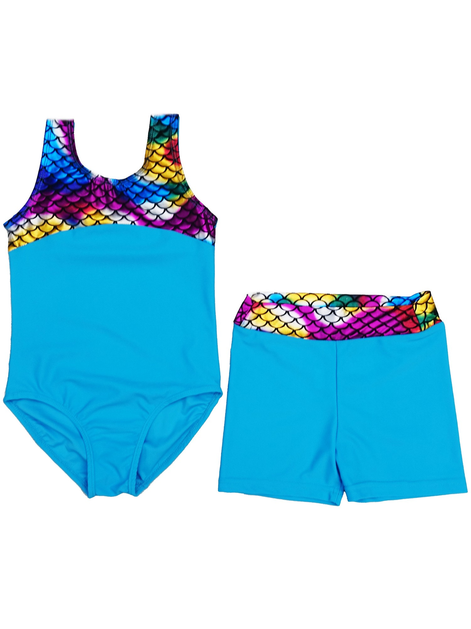 Wenchoice Girls Blue Multi Rainbow Mermaid Scale Leotard Shorts Set