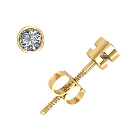 Real 0.10Ct Round Cut Diamond Stud Earrings 14k Yellow Gold Bezel Screwback G SI1 Vs1 Vs2 Earrings