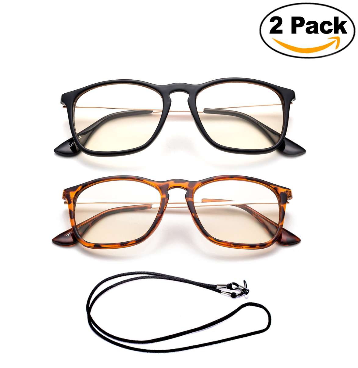 Newbee Fashion - Anti-Reflective Comfortable Computer Reading Glasses (No Magnification) Helps Eye Strain, Fatigue and Dry Eyes from Digital Devices with Anti-Blue Light, Anti-UV and Anti-Glare