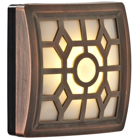 Image of Light It! By Fulcrum, 4-LED Wireless Soft-Glow Motion Sensor Light with Filigree Pattern, Indoor/Outdoor, Battery Operated, Bronze