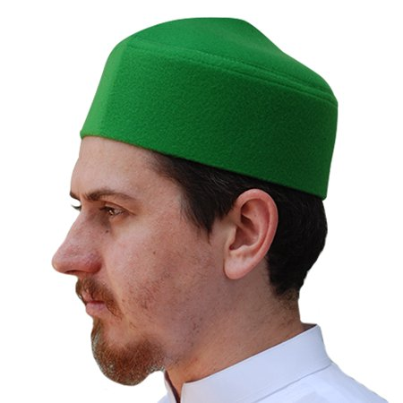 TheKufi® Green Moroccan Fez-style Kufi Hat Cap with Pointed Top Faux Felt (L) (Kufi Hats Indonesia Style)
