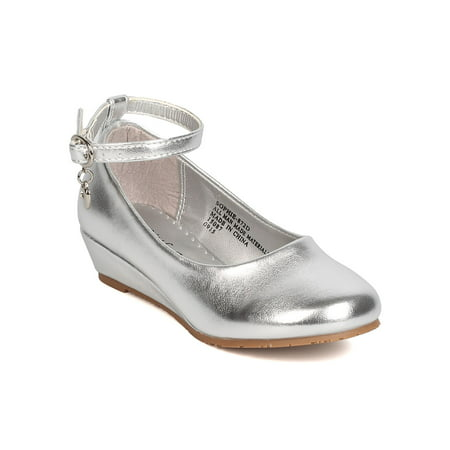 New Girl Little Angle Sophie-872D Metallic PU Danging Charm Ankle Strap Wedge