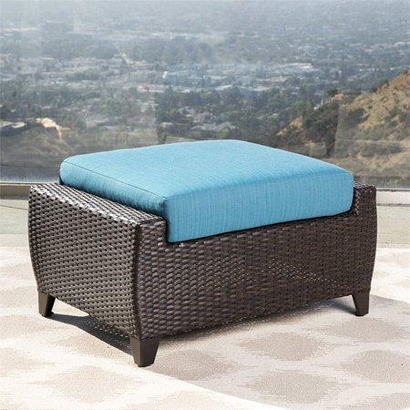 Wondrous Abbyson Laguna Wicker Patio Chair And Ottoman In Blue Inzonedesignstudio Interior Chair Design Inzonedesignstudiocom