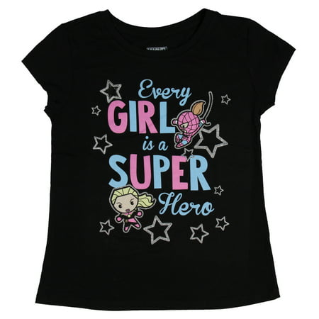 Marvel T Shirt Every Girl Is A Superhero Captain Marvel Spider Gwen Girl's Top (Girl Superheroes Names)
