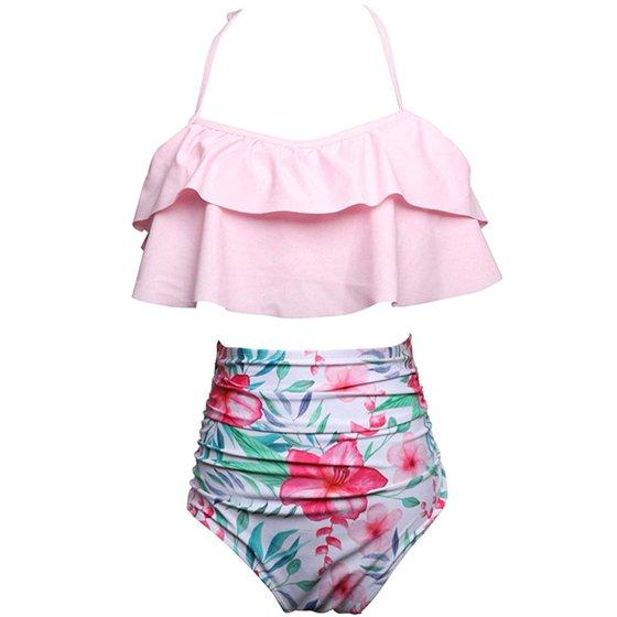 cc8cbedf58 Womens Padded Push-up Bikini Set Two-Piece Ruffle Falbala Family Matching  Mother Girl Swimwear Bathing Suits