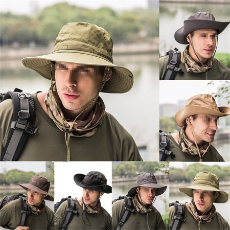 Boonie Bucket Hat Fisherman Wide Brim Safari Cap Pure Cap Unisex Sun (Leather Bucket Hat)