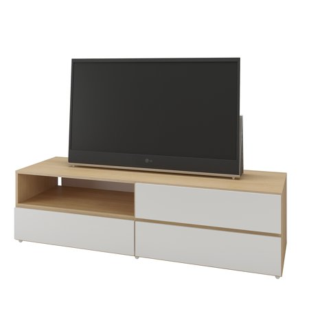 Trilogy 60 Inch Tv Stand  White And Natural Maple
