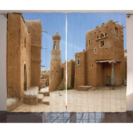 Desert Curtains 2 Panels Set  Sarai Batu Reconstruction Of Ancient Capital City Of Golden Horde Russia  Window Drapes For Living Room Bedroom  108W X 108L Inches  Pale Brown Pale Blue  By Ambesonne