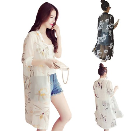 Boho Beach Shirts Women Thin Summer Blouses Kimono Long Print Shirt Plus Size Women Clothing Hot Sale 2018 Newest Boho Beach Shirts Women Thin Summer Blouses Kimono Long Print Shirt Plus Size Women Clothing Features: 1.Occasion:Casual/Beach/Party/Daily/Office/Formal/Home.  2.Perfect for festivals and outdoor concerts.  3.Good partner for Bikini,T-shirt and shorts,Mini dress and so on.  4.Stylish and Casual loose design perfect for beach, resorts, pool, holiday,cruising party and daily wear.  5.Sun-protective cover up. Size:free size   Size      Shoulder       Bust       Sleeves      Length            one size    40cm/15.7      104cm/40.9     40cm/15.7      99cm/38.9         Package include:1PC