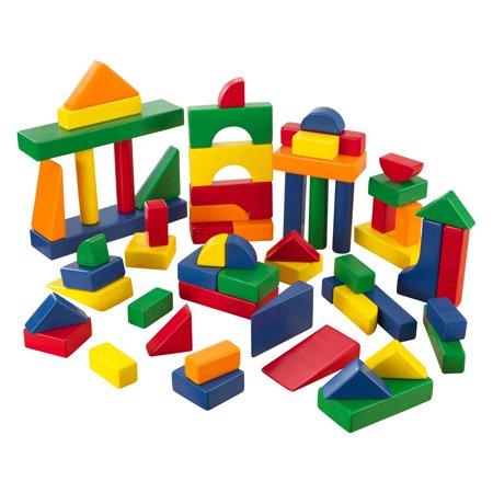 KidKraft 60-Piece Wooden Cutout Shapes Block Building Architectural Set - Primary