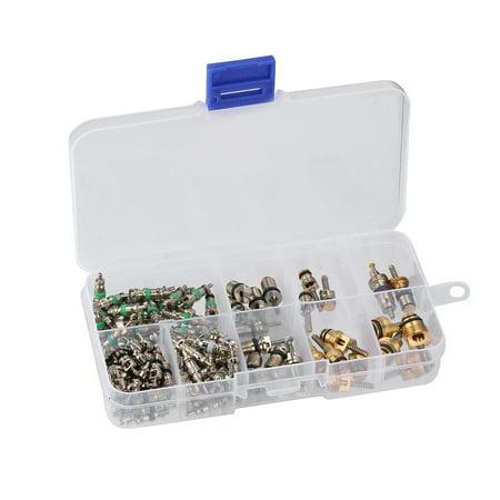 134 Pcs Assortment A/C Schrader Valves R134a Kit Of 11 Kinds Of AC Valve -