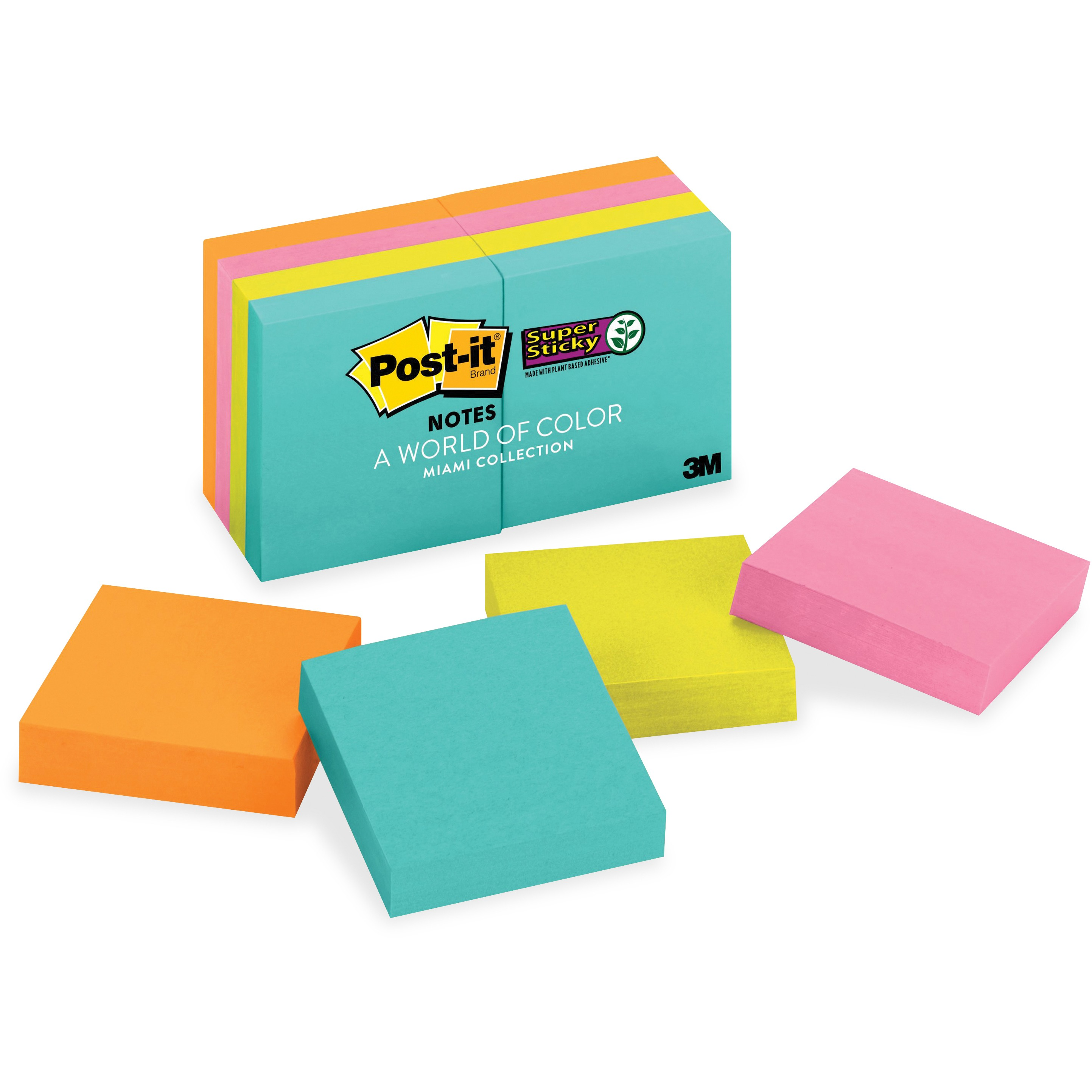 Post-it Super Sticky Notes 8 Pack, 2in. x 2in., Miami Collection