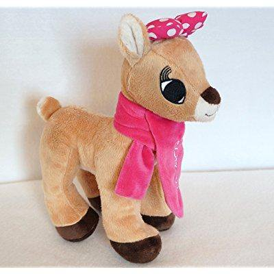 Rudolph the Red Nosed Reindeer Holiday Clarice 12-inch Plush with Pink Scarf and Bow