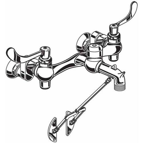 American Standard 8355.110.002 Service Sink Faucet with Exposed Yoke and Wall Mount with Bottom Bracket, Wrist Blade Handles, and Threaded Hose Ended Spout and Vacuum Breaker, Chrome
