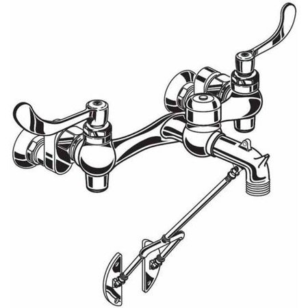 American Standard Service Sink Faucet - American Standard 8355.110.002 Service Sink Faucet with Exposed Yoke and Wall Mount with Bottom Bracket, Wrist Blade Handles, and Threaded Hose Ended Spout and Vacuum Breaker, Chrome