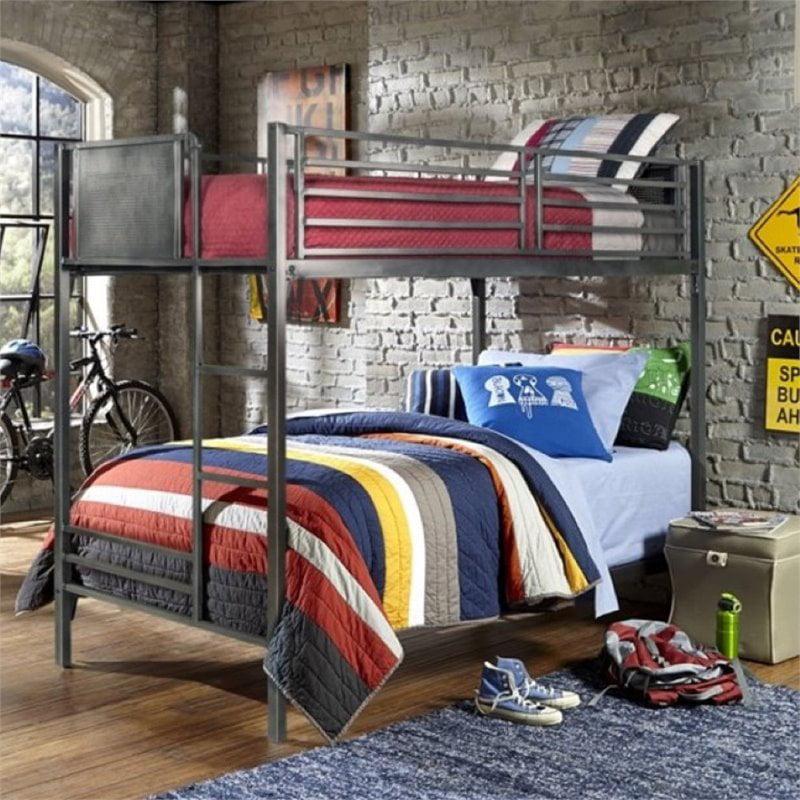 Rosebery Kids Twin Over Twin Bunk Bed in Black Steel