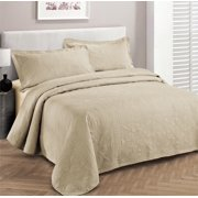 Fancy collection 3pc Bed Spread Embossed Bedsocover Solid Over size King / California king Beige New