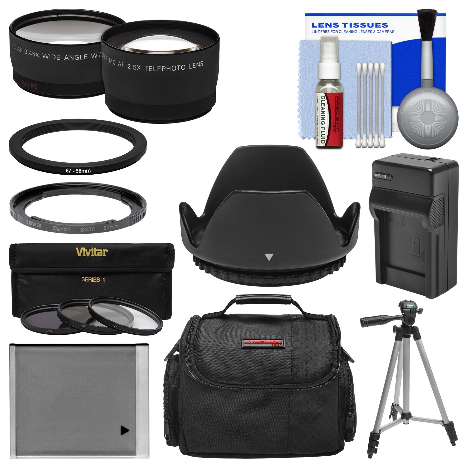 Essentials Bundle for Canon PowerShot SX530 & SX540 HS Camera + Case + NB-6L Battery & Charger + Tripod + Tele/Wide Lenses + 3 UV/CPL/ND8 Filters Kit