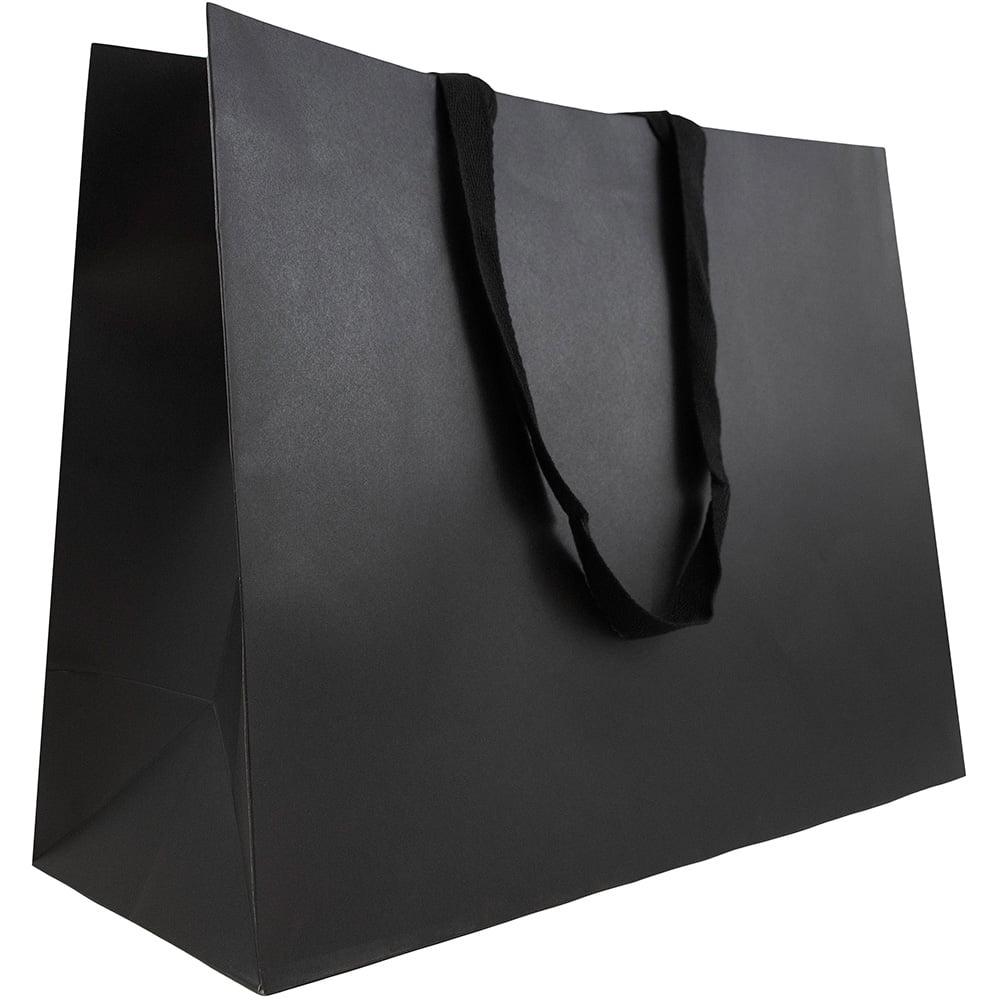 "JAM Paper Heavy Duty Matte Horizontal Gift Bag, XL, 17"" x 13"" x 6"", Black Kraft Recycled, Sold Individually"