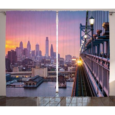 American  Curtains 2 Panels Set, Philadelphia under a Hazy Sunset Train on Bridge with Lights Skyscraper Landscape, Living Room Bedroom Decor, Purple Blue, by Ambesonne