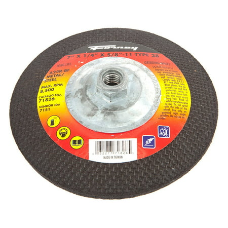71826 Grinding Wheel with 5/8-Inch-11 Threaded Arbor, Metal Type 28, A24R-BF, 7-Inch-by-1/4-Inch, Aluminum oxide metal grinding wheel By Forney