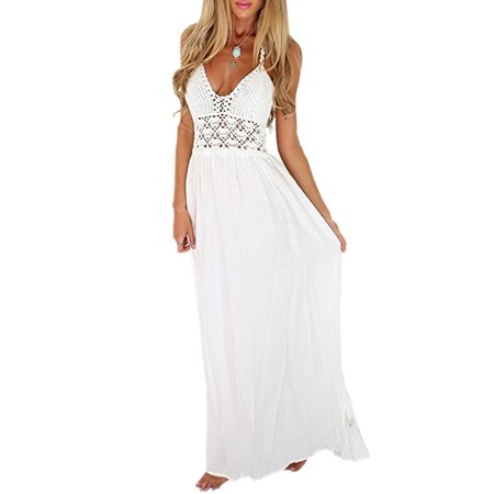 Women's Beach Crochet Backless Bohemian Halter Maxi Long Dress