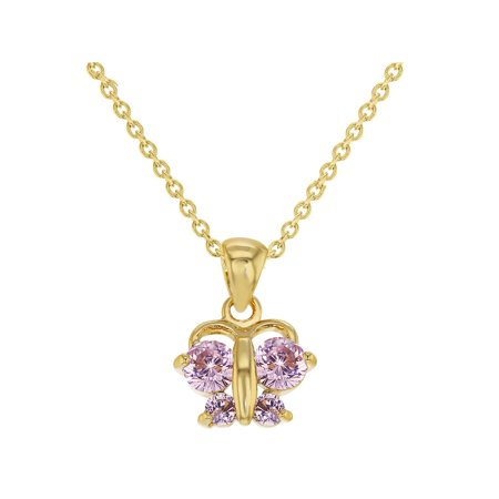 In Season Jewelry 18k Gold Plated Pink Butterfly Pendant Necklace Toddler Girls Children 16