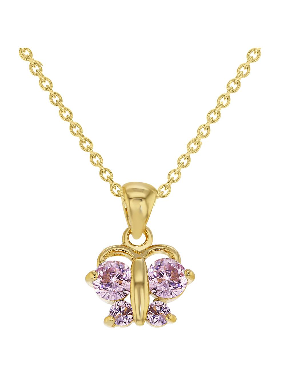 """In Season Jewelry 18k Gold Plated Pink Butterfly Pendant Necklace Toddler Girls Children 16"""""""