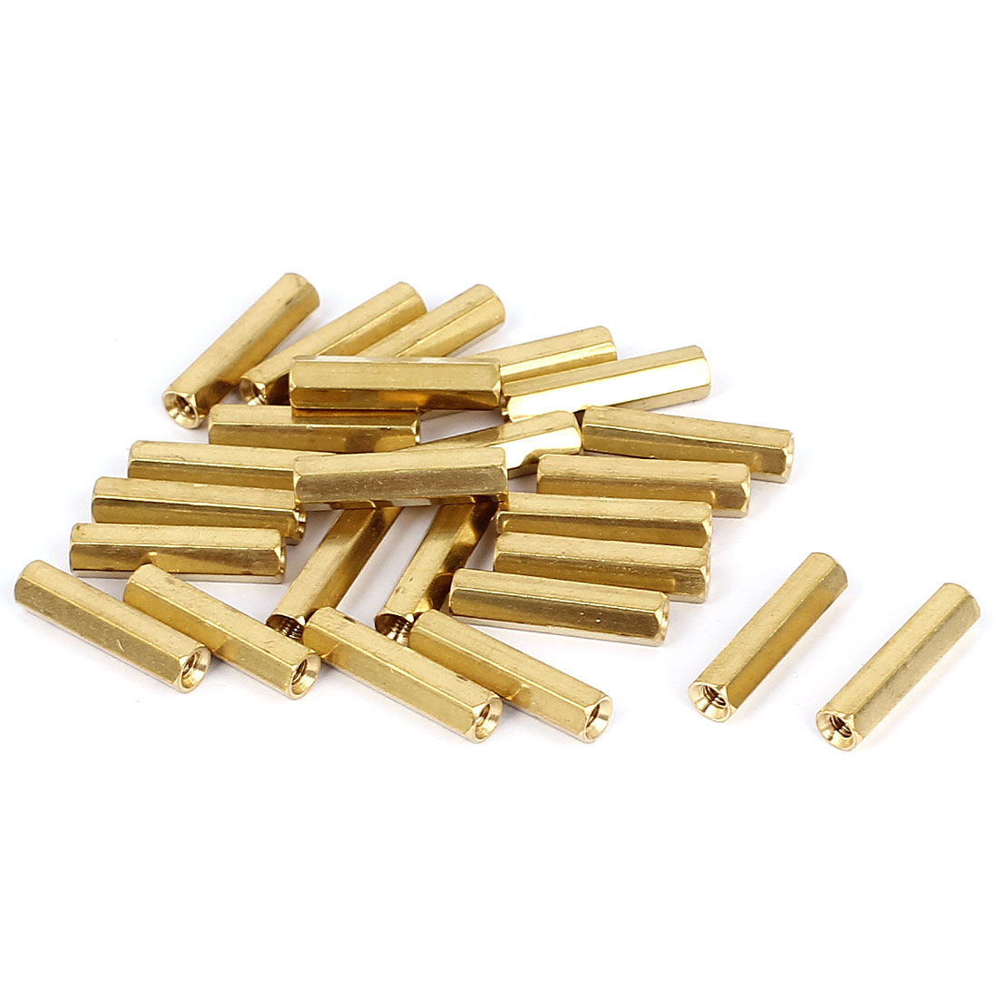 M3 x 20mm Female Thread Brass Hex Standoff Pillar Rod Spacer Coupler Nut 50pcs